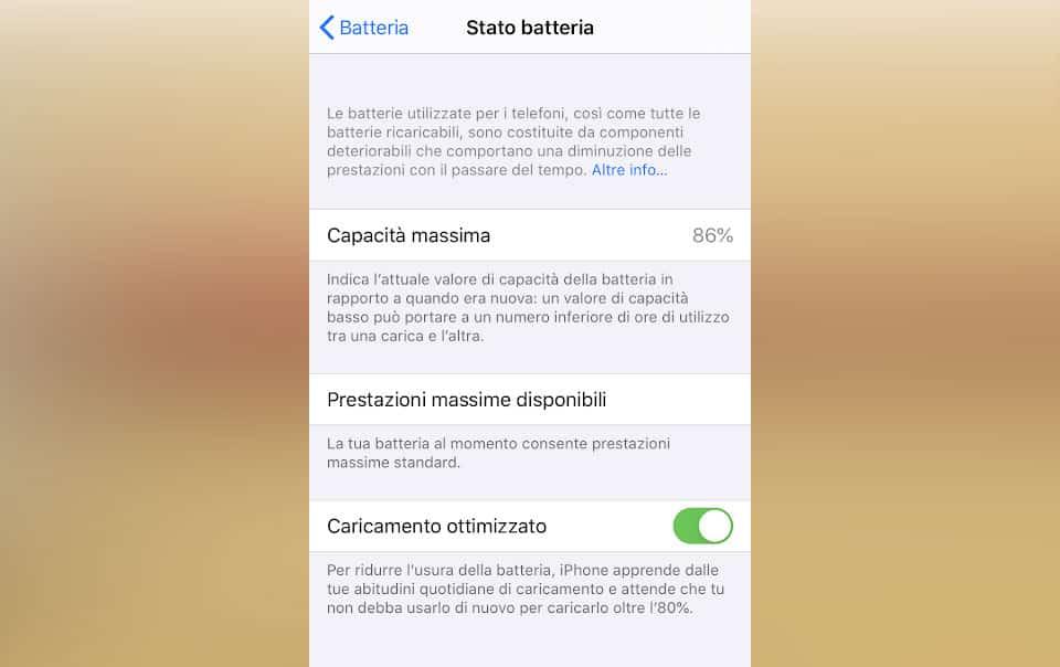 Controllare lo stato di salute della batteria